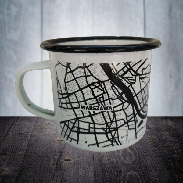 Kubek emaliowany mapa Warszawy co kupić pomysł na prezent 280 ml czarno biały minimalistyczny retro