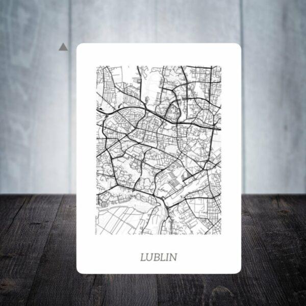 plakat dwustronny mapa plan miasta Lublin pomysł na prezent podróże cytat podróżniczy motywujący motywator gdzie kupić gratis magnes na lodówkę