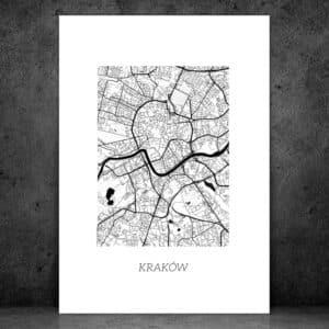 plakat dwustronny mapa plan miasta Kraków pomysł na prezent podróże cytat podróżniczy motywujący motywator gdzie kupić
