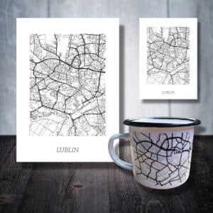 zestaw plakat kubek magnes pomysł na prezent lublin mapa plan miasta nowy